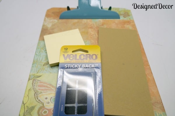 using velcro to stick on the note pads