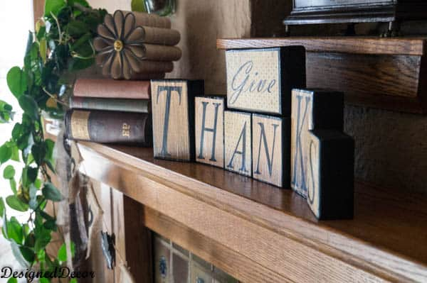 A quick change to make a Thanksgiving Mantel! | - Designed Decor