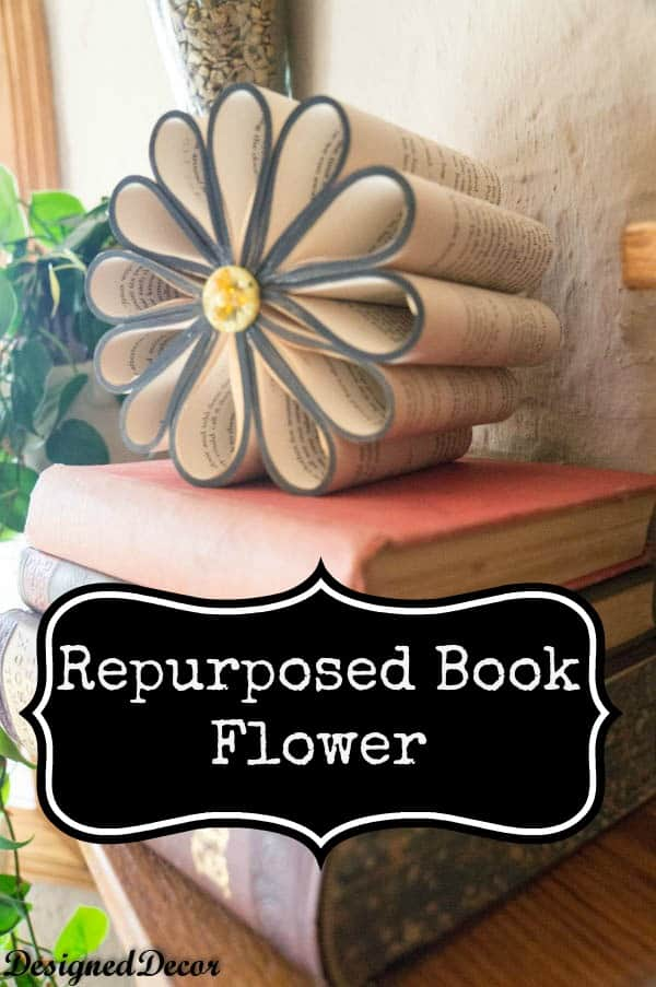 Diy repurposed book flower designed decor for Art book decoration ideas