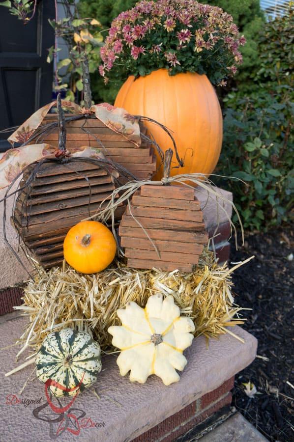 Repurposed Pallet Pumpkins! ~- Designed Decor