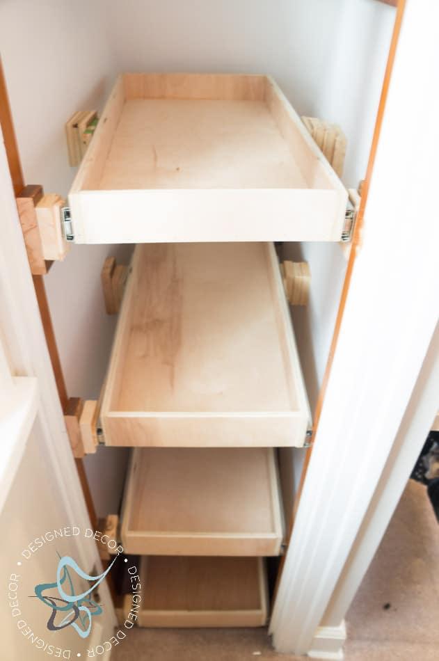 Shoe Closet ~ Building Pullout Shelves! ~- Designed Decor